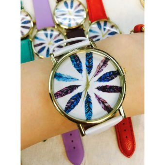Geneva Multi Color Feather Trendy Watch (White) Price Philippines