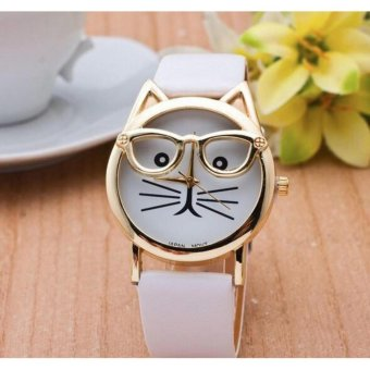 Geneva Nerdy Trendy Cat Fashion Watch (White) Price Philippines