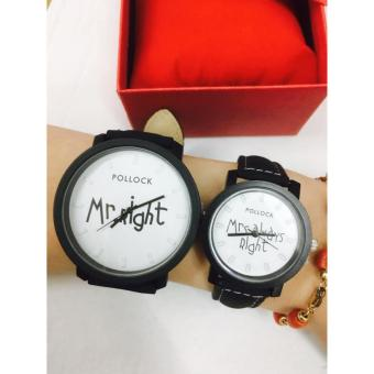 Geneva Pollock Mr. Right and Mrs. Always Right Couple Watch (Blackand White)