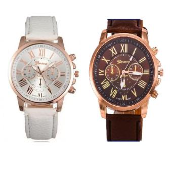 Geneva Roman Numerals Faux Leather Wrist Watch Set of 2 (White & Brown)