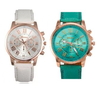 Geneva Roman Numerals Faux Leather Wrist Watch Set of 2 (White & Green)