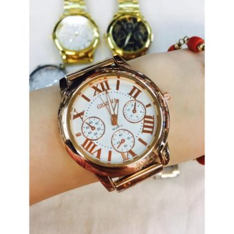 Geneva Roman Numerals Stainless Steel Luxury Women's Watch (RoseGold/White)