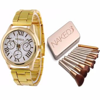 Geneva Roman Numerals Stainless Steel Luxury Women's Watch(Gold/White) WITH Naked 12 pcs Professional 3 Power Makeup Brushes