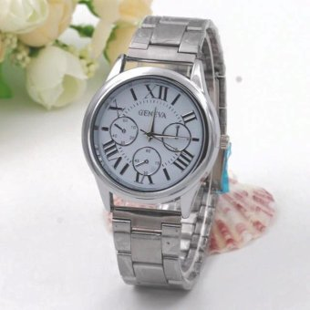 Geneva Roman Numerals Stainless Steel Luxury Women's Watch(Silver/White)