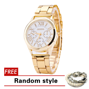 Geneva Roman Numerals Women's Gold Steel-belt Watch SY-3 with Free Beatrice Bangle 5-piece Set Random style