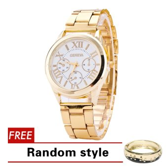 Geneva Roman Numerals Women's Gold Steel-belt Watch SY-3 with Free Natalie Gold Star Bangle Random style