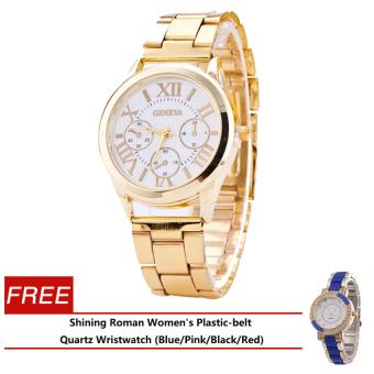 Geneva Roman Numerals Women's Gold Steel-belt Watch SY-3 with Free Shining Roman Women's Plastic-belt Quartz Wristwatch