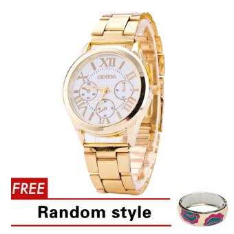 Geneva Roman Numerals Women's Gold Steel-belt Watch SY-3 with Free Simple Flower Caroline Pink Random style