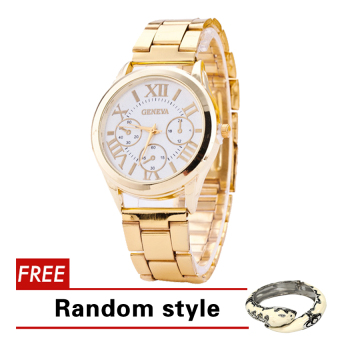 Geneva Roman Numerals Women's Gold Steel-belt Watch SY-3 with FreeBangle Harper Random style