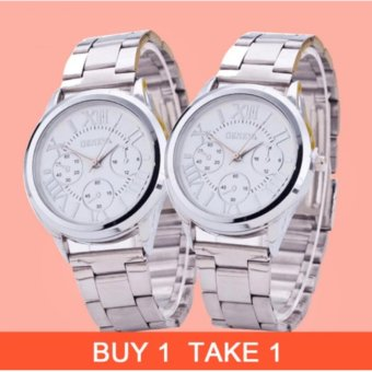 Geneva Silver/White Roman Numerals Wrist Watch Metal Buy 1 Take 1
