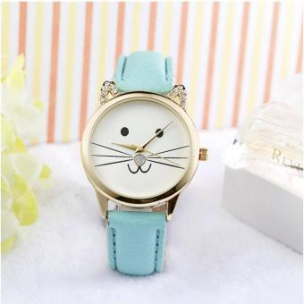 Geneva Smiling Cat With Rinestones Leather Wrist Watch (Baby Green)