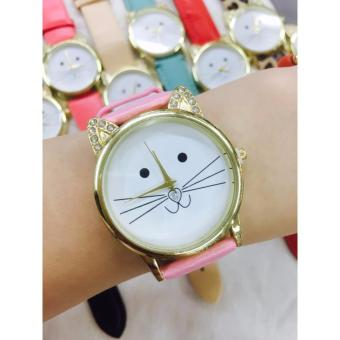 Geneva Smiling Cat With Rinestones Leather Wrist Watch (Baby Pink)