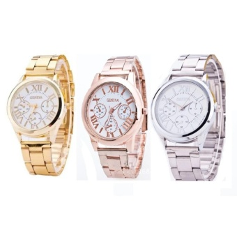 Geneva Stylish Roman Numerals Wrist Watch Set Of 3