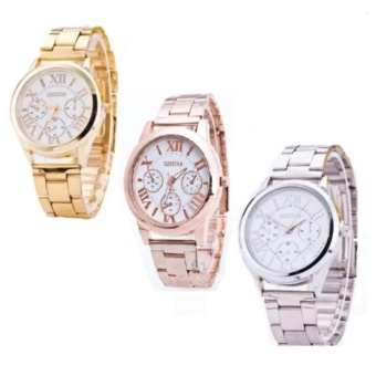 Geneva Stylish Roman Numerals Wrist Watch Set of 3(Gold/White,RoseGold/White,Silver/White)