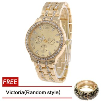 Geneva SY-13 Fashion Women's Gold Stainless Steel Strap Watch WithFree Victoria Gold Bangle