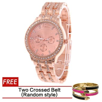 Geneva SY-13 Fashion Women's Rose Gold Stainless Steel Strap WatchWith Free Bangle Avery Black Pink