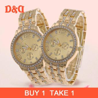 Geneva SY-13 Women's Stainless Steel Strap Watch/ Buy One Take One (Gold)