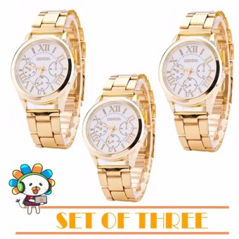 Geneva SY-3 Roman Numerals Women's Gold/White Steel-belt Watch Set of Three