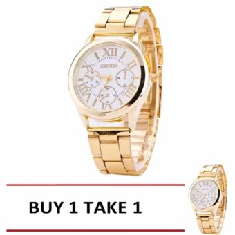 Geneva Sy-3 Roman Numerals Women's Gold/White Steel-Belt Watch -Original Buy 1 Take 1