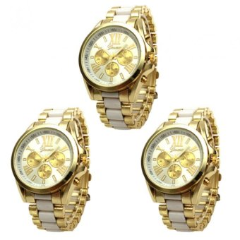 Geneva Three Eyes Strip Women's Two-Tone Stainless Steel Strap Watch 179 Set of 3