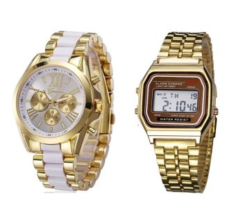 Geneva Three Eyes Strip Women's Two-Tone Stainless Steel StrapWatch (Gold/White) With LANDFOX men's Gold Stainless Steel StrapWatch