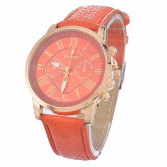 Geneva WCG-888 Women's Faux Leather Watch (Orange/Gold) - 2