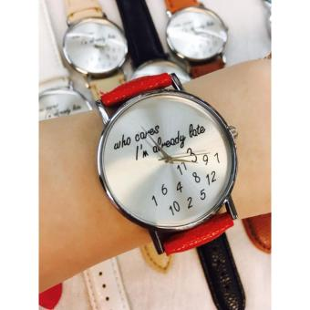 Geneva Who Cares Im Already Late Silver Face Leather Watch (Red)