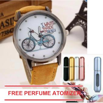Geneva Women Biking and Cycling Denim Style Leather Strap Watch with free 1pc Perfume Atomizer (color may vary)