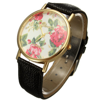 Geneva Women Black Leather Rose Flower Watch - picture 2