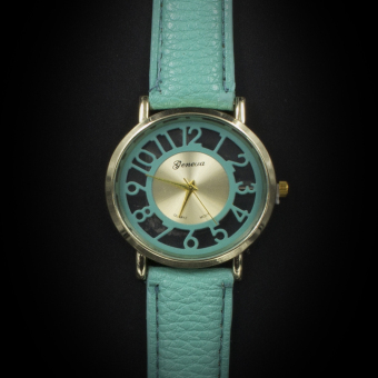 Geneva Women's Casual Watch Big Number Green Leather Strap GE006E