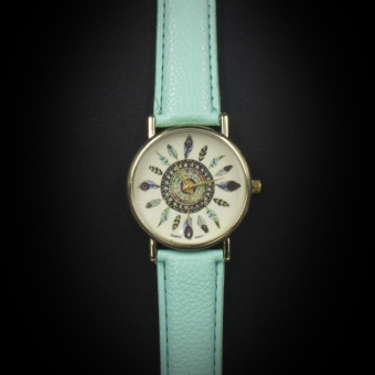 Geneva Women's Casual Watch Small Feather Mint Green Leather Strap GE023E