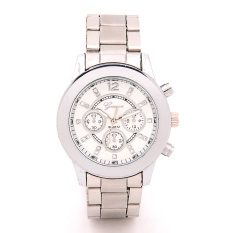 Geneva Women'S Classic Steel Stone Watch Silver Strap And Geneva Women'S Tower Design Dial Leather Band