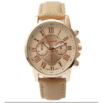 Geneva Women's Roman Brown Leather Strap Watch Grnbge-1