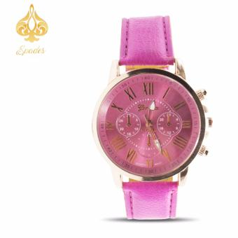 Geneva Women's Roman Fuschia Pink Leather Strap Watch
