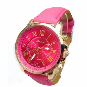 Geneva Women's Roman Hot Pink Leather Strap Watch