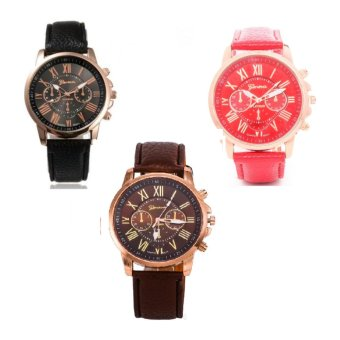 Geneva Women's Roman Leather Strap Watch Black/Red/Brown