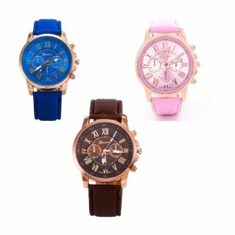 Geneva Women's Roman Leather Strap Watch Blue/Pink/Brown