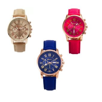Geneva Women's Roman Leather Strap Watch Hot Pink/Beige/Blue