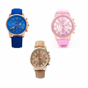 Geneva Women's Roman Leather Strap Watch Pink/Beige/Blue