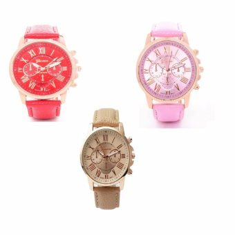 Geneva Women's Roman Leather Strap Watch Pink/Beige/Red