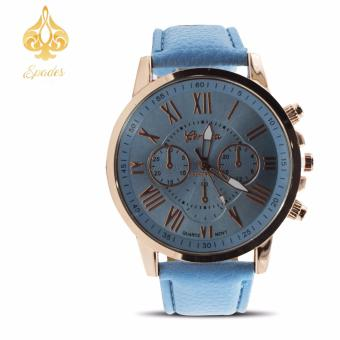 Geneva Women's Roman Sky Blue Leather Strap Watch