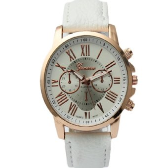 Geneva Women's Roman White Leather Strap Watch GRNW-1