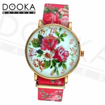 Geneva Women's Roses Floral Pink Leather Strap Watch