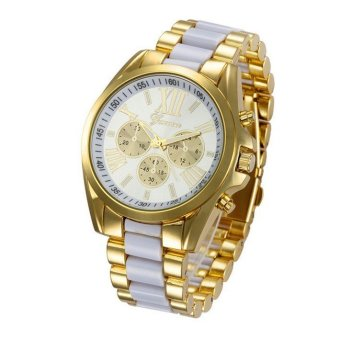 Geneva Women's Striped Three-color Stainless Steel Bracelet Watch (Gold/white)