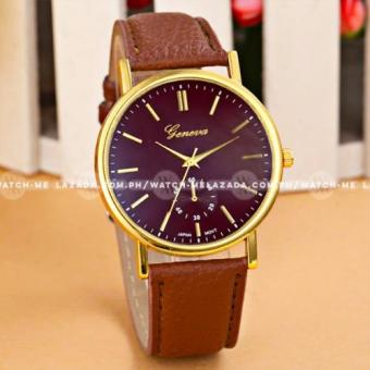 Geneva Women's Subdial Style Brown Leather Strap Watch