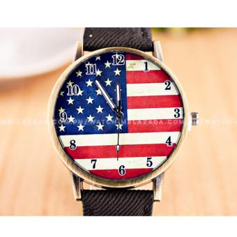 Geneva Women's USA America Flag Denim Style Leather Colored Strap Watch