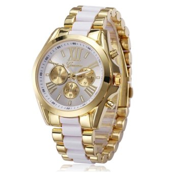 GENEVA Women's White-Gold Stainless Steel Strap Watch