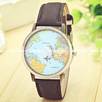 Geneva Women's World Traveller Design Black Leather Strap Watch