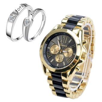 Geneva Women's Black/Gold Stainless Steel Strap Watch withAdjustable C-SY-10-Black+H-LX-JZ8814 Couple Ring (Silver)