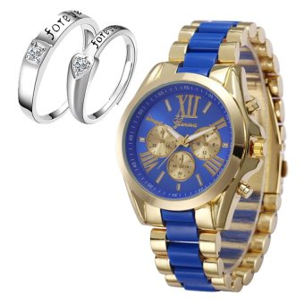 Geneva Women's Blue/Gold Stainless Steel Strap Watch withAdjustable C-SY-10-Blue+H-LX-JZ8814 Couple Ring (Silver)